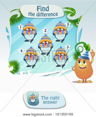 Visual Game for children. Task: Find the difference penguin