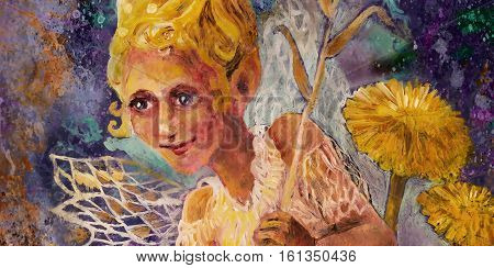 little flower pixie fairy with dandelion and bellflower, fairytale illustration.