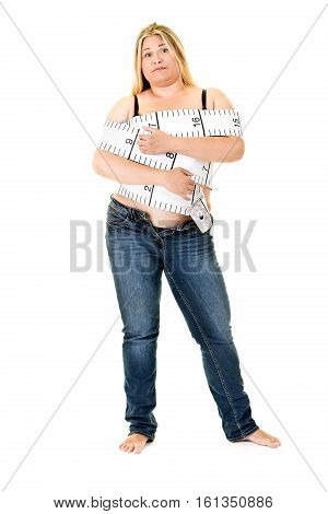 Obese Young Woman Wrapped In Tape Measure