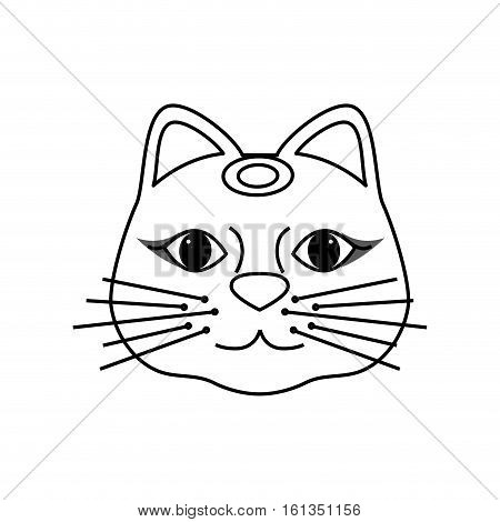 maneki neko lucky cat icon vector illustration graphic design