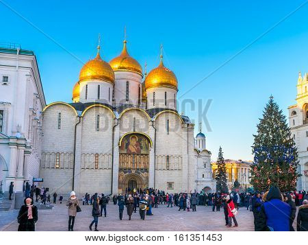 Assumption Cathedral (Cathedral of the Dormition Uspensky sobor) in Moscow before Christmas