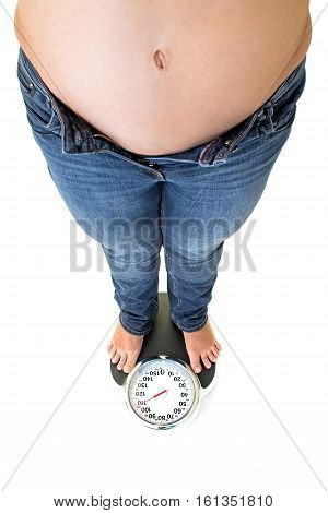 Fat Overweight Woman Standing On A Bathroom Scale