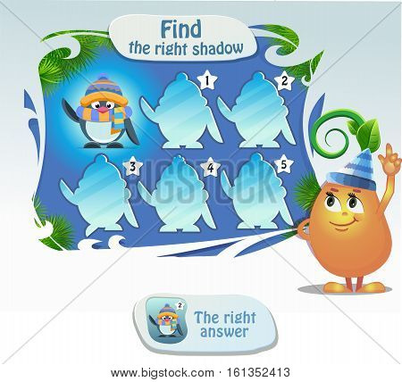 visual game for children and adults. Task- find the right shadow penguin
