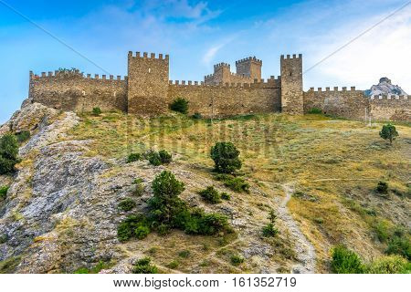 Ancient Genoese fortress in Sudak Crimea Russia
