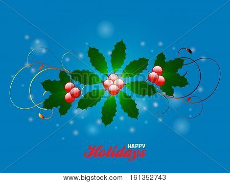 Elegant Festive Flourish Over Glowing Blue Background with Happy Holidays Text