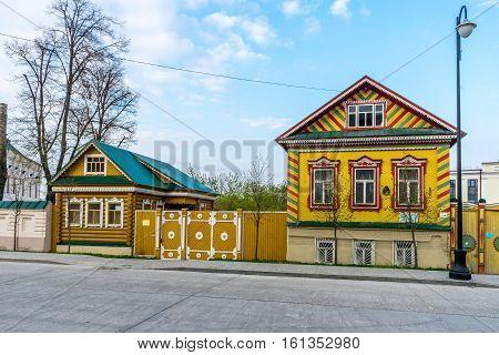 Beautiful old houses in Old Tatar Sloboda in Kazan Russia
