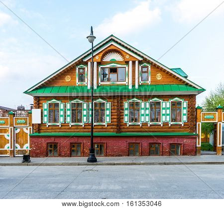 Old Tatar brightly painted house in Old Tatar Sloboda in Kazan