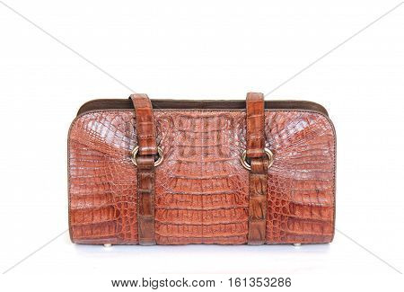 brown crocodile leatherette handbag for woman or man on white background