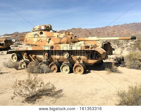 CHIRIACO SUMMIT CA - DECEMBER 10 2016: M60 Tank. The vehicle is on display at the General Patton Memorial Museum in the California desert.