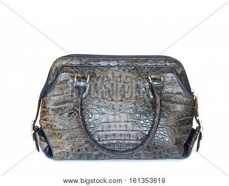 gray crocodile leatherette handbag for woman on white background