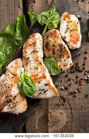Grilled Turkey Fillet With Appetizing Roasted Crust Garnish Spinach