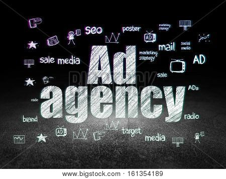 Advertising concept: Glowing text Ad Agency,  Hand Drawn Marketing Icons in grunge dark room with Dirty Floor, black background