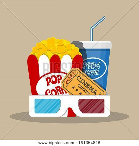 Retro movie set. box with popcorn, soda water glass, 3d glasses. ticket. vector illustration in flat style on brown background