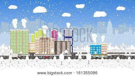 Beautiful winter city with park alley, office and residental buildings, roads, trees. car. truck. bus, falling snowflakes. sky. Christmas and new year, winter urban cityscape vector illustration