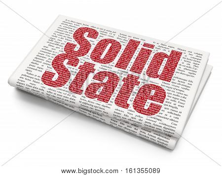 Science concept: Pixelated red text Solid State on Newspaper background, 3D rendering