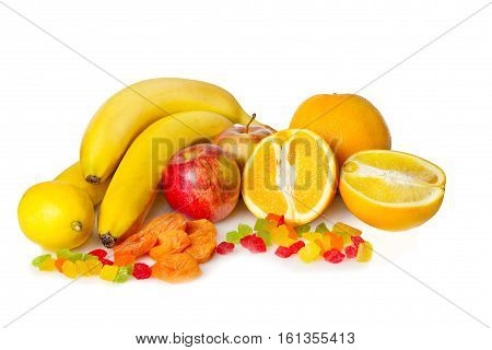 Still life from fruit on a white background