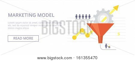 Marketing Model horizontal banner with sales funnel and flow of customers. Flat vector illustration for your design.
