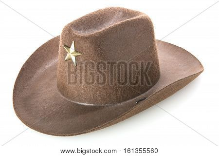 cowboy's hat with star on a white background