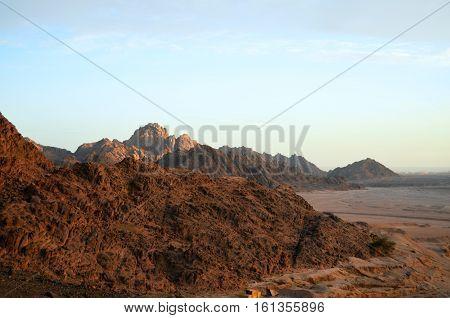 Egypt Sharm El Sheikh the rock against the sky. Desert. Egyptian mountains.