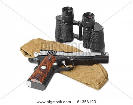 Army soldiers forage-cap, binoculars and pistol isolated on white background