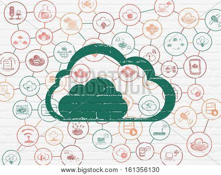 Cloud technology concept: Painted green Cloud icon on White Brick wall background with Scheme Of Hand Drawn Cloud Technology Icons