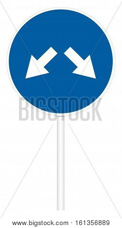 Prescriptive traffic sign isolated on white 3D illustration - Left and right motion