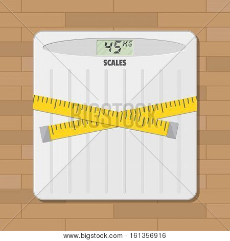 Bathroom floor weight scale and measuring tape. vector illustration in flat style on wooden background