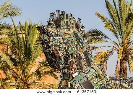 TEL AVIV ISRAEL - DECEMBER 5: Cyber Horse sculpture of Trojan horse at Tel Aviv University Israel on December 5 2016