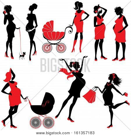 Set of pregnant woman Silhouettes in black and red colors isolated on white background. Elements for Life style design. Walking with buggy shopping chatting.