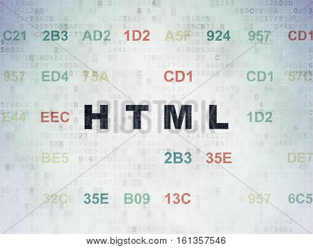 Programming concept: Painted black text Html on Digital Data Paper background with Hexadecimal Code