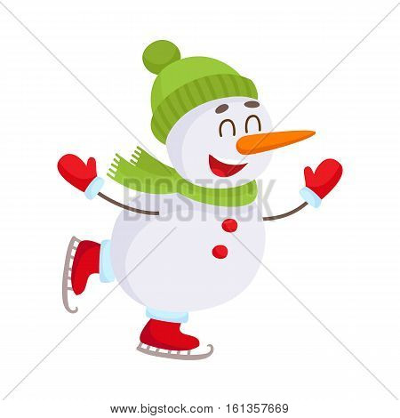 Cute and funny little snowman ice skating happily, cartoon vector illustration isolated on white background. Happy ice skating snowman in hat and mittens, Christmas season decoration element