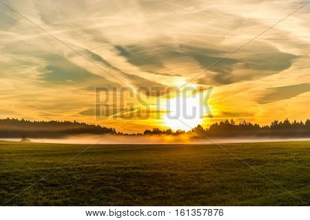 Sunrise and spindrift clouds over the forest and the field with green grass with the fog