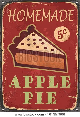 Apple pie old poster design with piece of homemade cake on vintage red background. Vector illustration.