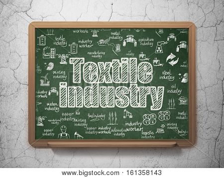 Industry concept: Chalk White text Textile Industry on School board background with  Hand Drawn Industry Icons, 3D Rendering
