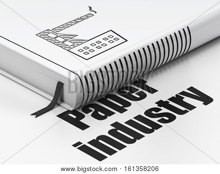 Industry concept: closed book with Black Industry Building icon and text Paper Industry on floor, white background, 3D rendering
