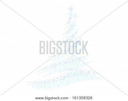 Symbol of a stars fir tree on a white background
