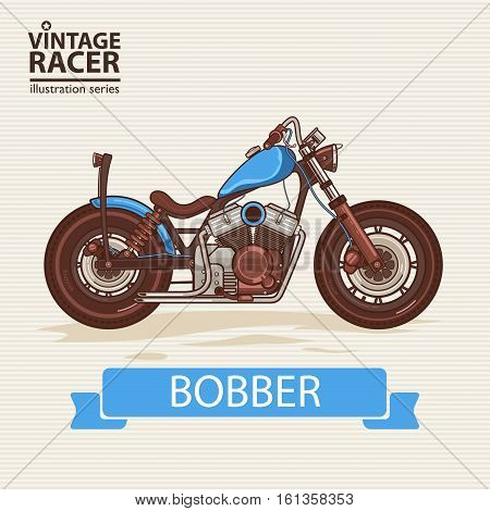 A vector illustration of Vintage Racing Motorcycle