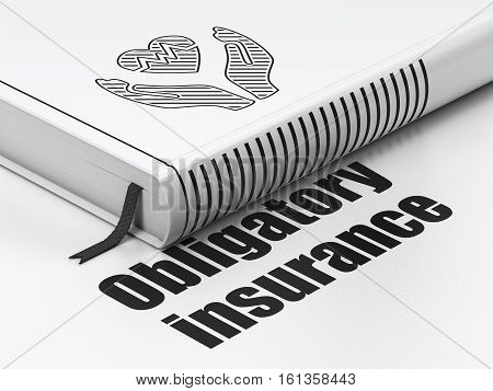 Insurance concept: closed book with Black Heart And Palm icon and text Obligatory Insurance on floor, white background, 3D rendering