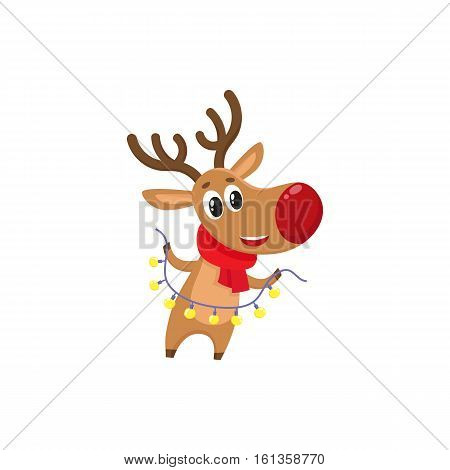 Funny Christmas reindeer in red scarf holding a garland, cartoon vector illustration isolated on white background. Red nosed deer in red scarf with Christmas lights, holiday decoration element