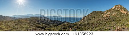 Panoramic View Across Desert Des Agriates In Corsica
