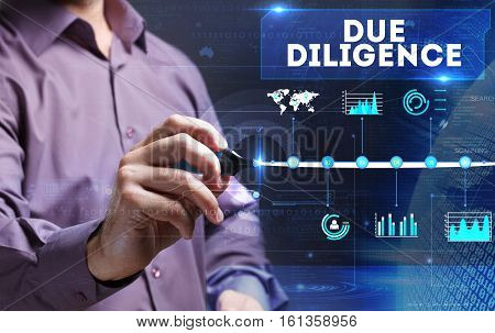 Technology, Internet, Business And Marketing. Young Business Person Sees The Word: Due Diligence