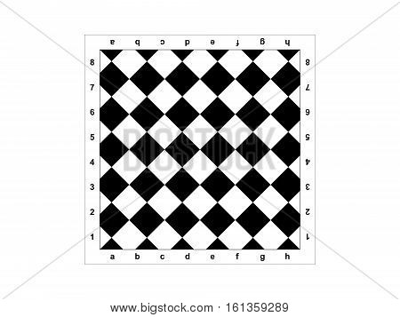 The diagonal chessboard on a white background