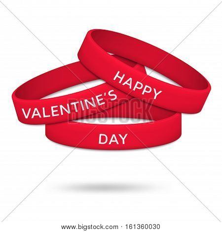 Happy Valentines Day rubber wristbands. Vector illustration.