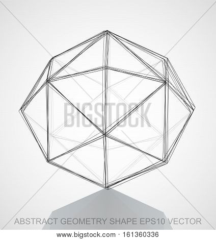 Abstract stereometry shape: Ink sketched Octahedron with Reflection. Hand drawn 3D polygonal Octahedron. EPS 10, vector illustration.
