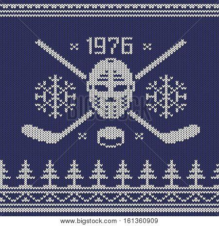 Knitted jumper pattern - hockey mascot white on blue. Vector sweater illustration.