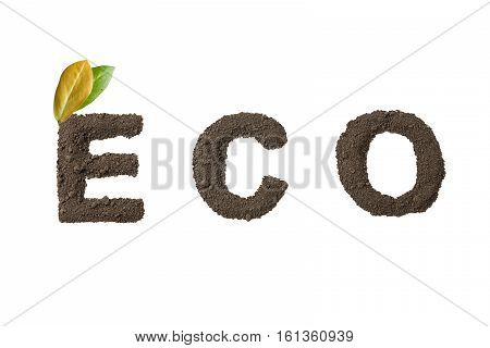 The word eco with the texture of the soil isolated on white background