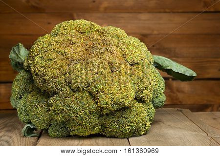 Fresh healthy useful broccoli vegetable on wooden table close up