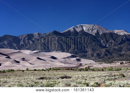 The Great Sand Dunes National Park shows the contrasts of this beautiful natural area north of Alamosa, Colorado