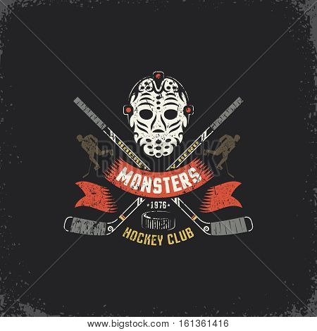 Hockey logo mascot for sport team club league with retro goalie mask crossed sticks player silhouette and ribbon. Grunge texture on separate layers easily edited.