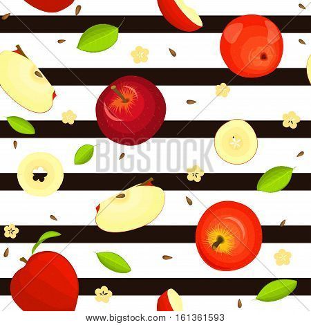 Seamless vector pattern of ripe fruit. Striped background with delicious juicy red apples, whole, slice, half, slice, leaves. Illustration can used for printing on fabric, textile in design packaging